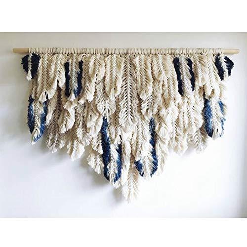 NO BRAND Tejido Pluma de Bohemia de la Borla de teñido tapicería de la Pared Suave Creativa Macrame Colgar de la Pared Tejido a Mano Ropa de Cama Decoración Cabecera de Boho (Color : B 80 x 55cm)