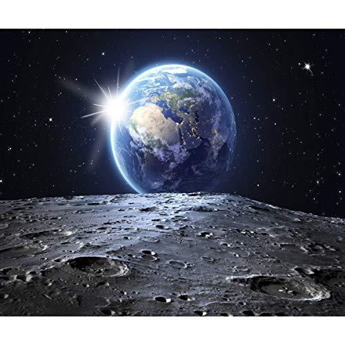 decomonkey Fototapete Mond Erde 350x256 cm XL Tapete Fototapeten Vlies Tapeten Vliestapete Wandtapete moderne Wandbild Wand Schlafzimmer Wohnzimmer Stern Planet