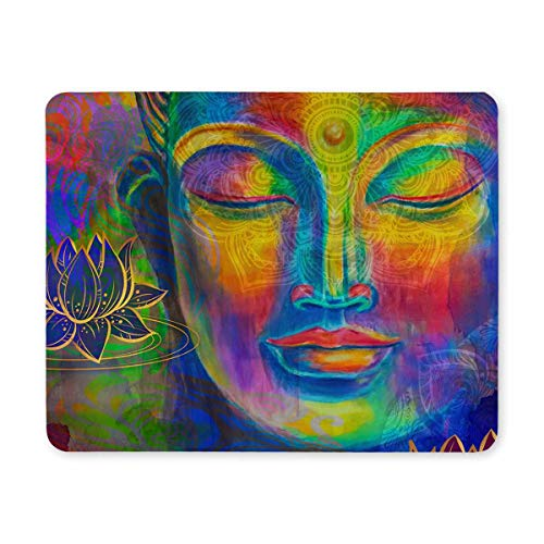 InterestPrint Watercolor Head of Lord Buddha Digital Art Collage Rectangle Non-Slip Rubber Mousepad Mouse Pads/Mouse Mats Case Cover with Designs for Office Home Woman Man Employee Boss Work