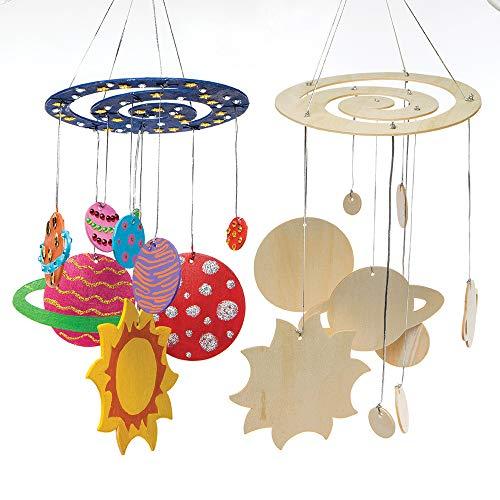 Baker Ross Kits de móviles del Sistema Solar de Madera para manualidades infantiles, Paquete de 2