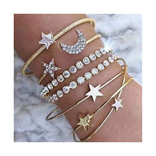 Charm Bracelets Pulsera Set Brazalete de Mujer Pulsera Set Open Ajustable Star Star Muff Alambre apilable Joyería