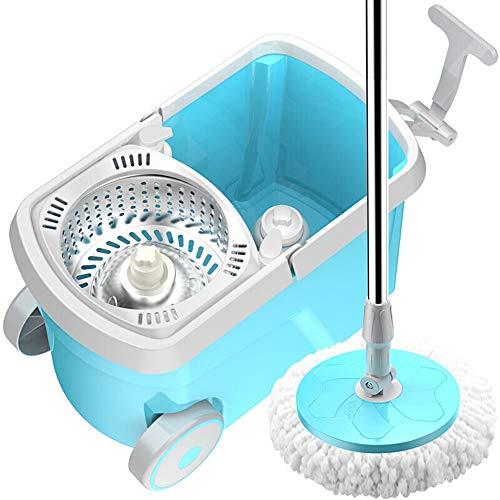 Wanlianer-Home Spin Mop Bucket System Acero Inoxidable 360 Spinning Mop Bucket Sistema De Limpieza del Piso Microfibra Cabeza De Repuesto Repuestos Rueda For Limpieza del Hogar - Azul