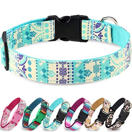 Taglory Verstellbares Hundehalsband,Weich & Komfort Hunde Halsband für Kleine Hunde,Blau Ethnisch