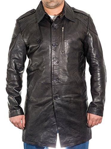 A to Z Leather Negro para Hombre de Cuero Real de Tres Escudo Trimestre del Foso. Abrigo Largo con Estilo.