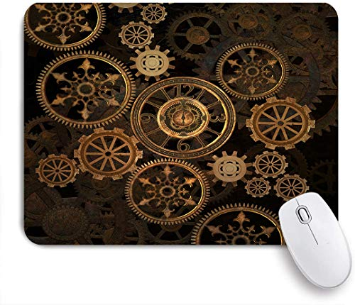 Aliciga Gaming Mouse Pad Rutschfeste Gummibasis,Steampunk Steam Punk Zahnräder Uhr Abstrakt Gold Technologie Vintage Bronze Jahrhundert,für Computer Laptop Office Desk,240 x 200mm