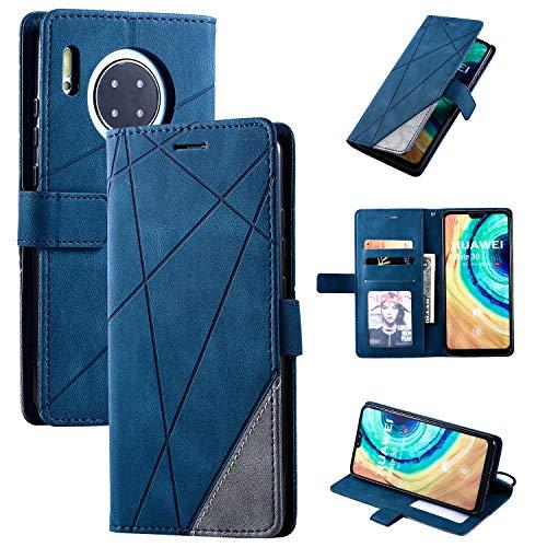 Snow Color Huawei Mate 30 Hülle, Premium Leder Tasche Flip Wallet Case [Standfunktion] [Kartenfächern] PU-Leder Schutzhülle Brieftasche Handyhülle für Huawei Mate30 - COMS010297 Blau