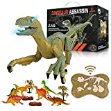 Remote Control Dinosaur Toys, Joyshare 2.4Ghz RC Dinosaur Toys Gifts for 3+ Year Old Boys Girls Kids, Simulation Velociraptor Toys with LED Light & Roaring, Rechargeable Jurassic Walking Dinosaur Toys