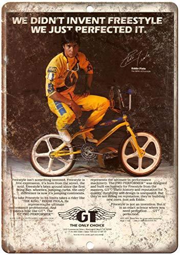 GT BMX Freestyle BMX Póster de Pared Metal Creativo Placa Decorativa Cartel de Chapa Placas Vintage Decoración Pared Arte para Carretera Bar Café Tienda