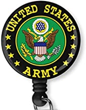 United States Army U.S. Army Retractable ID Card Badge Holder with Alligator Clip, Name Nurse Decorative Badge Reel Clip on Card Holders