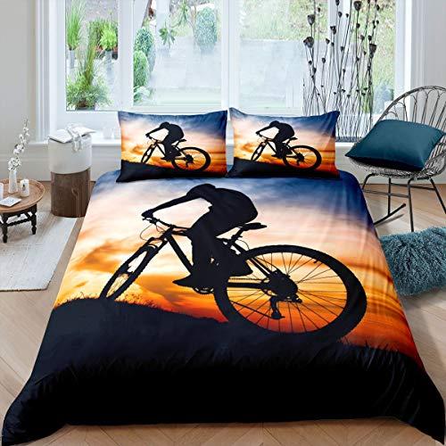 Juego de ropa de cama para bicicleta de montaña con diseño de deportes extremos para niños y niñas en 3D para decoración de motos de cross, funda de edredón para dormitorio, colección Super King
