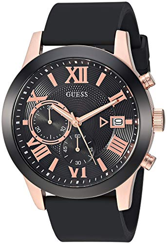 GUESS Comfortable Black + Rose Gold-Tone Stain Resistant Silicone Chronograph Watch with Date. Color:Black/Rose Gold-Tone (Model: U1055G3)
