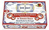 SANTO AMARO European Wild Sardines in Tomato Sauce from Puree (12 Pack, 120g Each) IBERIA STYLE!...