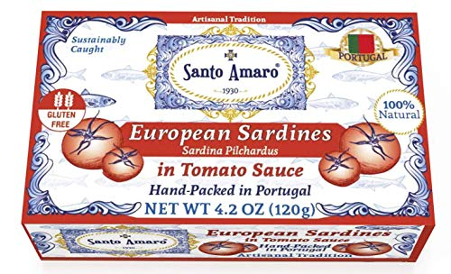 SANTO AMARO European Wild Sardines in Tomato Sauce from Puree (12 Pack, 120g Each) IBERIA STYLE! 100% Natural - Canned Wild Sardines in Natural Tomato Sauce - GMO FREE - Hand Packed in PORTUGAL