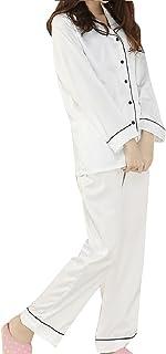 [ジルア] パジャマ 寝巻 前開き シルク風 光沢 肌触り 滑らか 上下 セット 部屋着 ルームウェア レディース #019