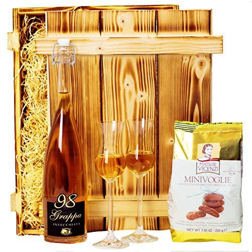 Geschenkset Venedig | Geschenkkorb gefüllt mit Grappa, Gläser, italienische Spezialitäten & Holzkiste | Alkohol Geschenk für Männer & Frauen zum Geburtstag | Italien Präsentkorb mit Schokolade