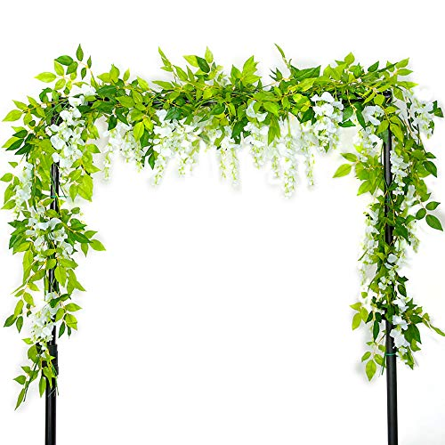 Warmiehomy Wisteria Artificial Flowers 2 Pcs 7 ft Vine Wisteria Trailling Fake Flowers Garlands DIY Flower Decoration for Wedding Party Christmas & New Year Decors,White