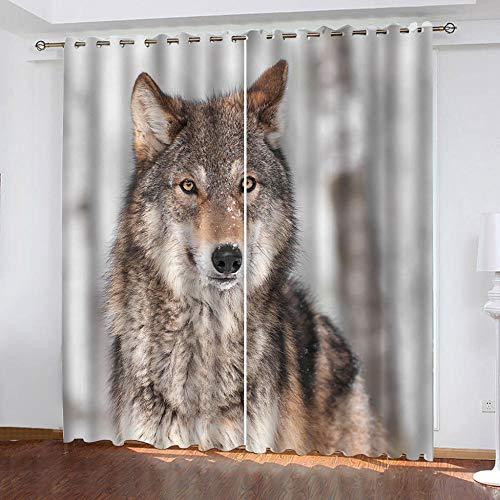 MENGBB Cortina Opaca Microfibra Infantil 160x180cm Estampado de Lobo Animal de la Selva 95% Opaca Cortina aislantes de frío y Calor Decorativa con Ojales Estilo para Salón Habitación y Dormito