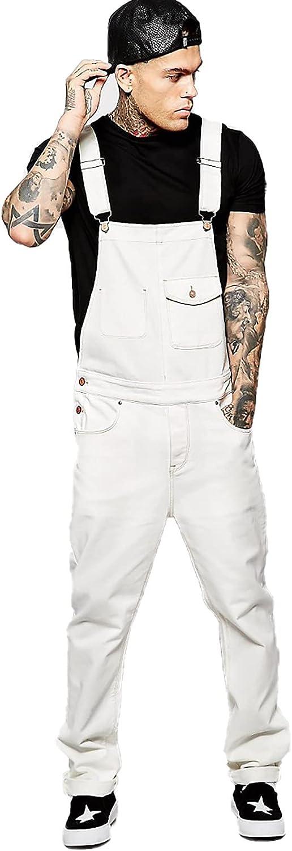 RJFYPX Men's Slim Denim Overalls Fashion Solid Color Men's Overalls