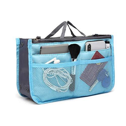 Ducomi Handtaschen-Organiser Geldbeutel-Einsatz 13 Fächer - Ideal für Dokumente, Telefon, Make-up, Schlüssel an Ihren Fingerspitzen (Standard, Light Blue)