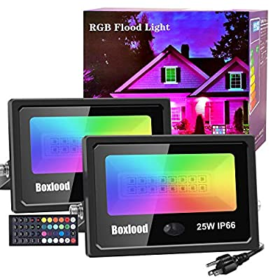 Boxlood RGB LED Flood Lights Outdoor Indoor Color Changing Floodlights Dimmable Timing Remote Control IP66 Waterproof Halloween Christmas Party Garden Stage Decoration Landscape Spotlights 25W 2Pack