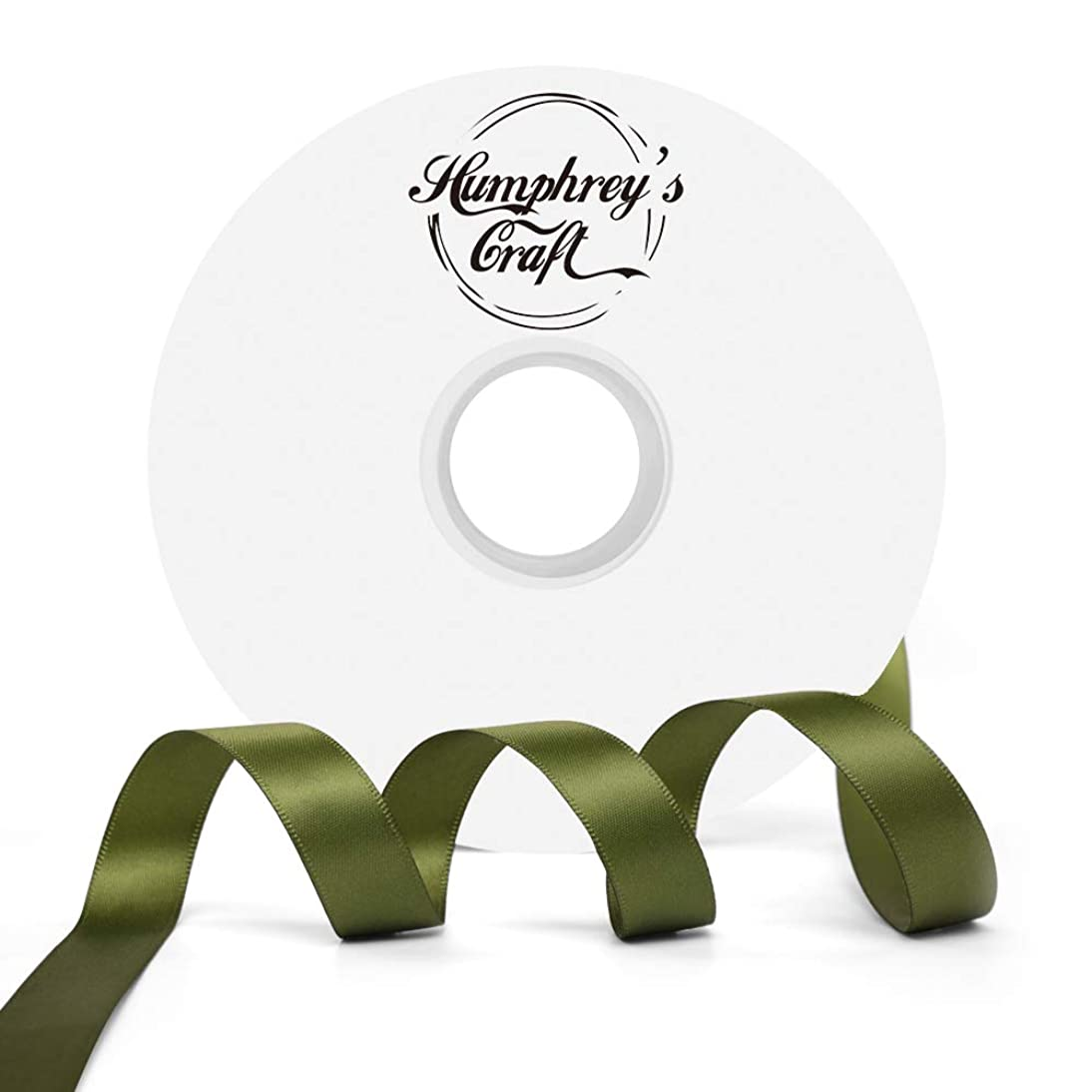 Humphrey's Craft 5/8-inch Double Face Solid Satin Ribbon 100% Polyester Ribbon Roll-50 Yard (Moss Green)