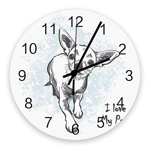 Reloj de Pared de 10 'Redondo, Funciona con Pilas, silencioso, sin tictac, decoración de Pared...