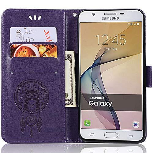 Samsung Galaxy On5 (2016), Lederhülle, Galaxy On5 (2016), Brieftaschen-Hülle, Leder-Prägung, Blumen-Design, mit Kreditkartenfach für Samsung Galaxy On5 (2016)