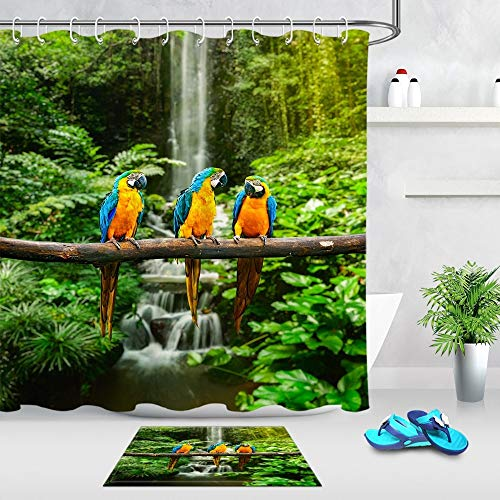 N / A Blue and yellow macaw waterfall green tree forest shower curtain with cushion waterproof bathroom fabric natural bathtub decoration waterproof and mildew proof shower curtain A18 150x200cm