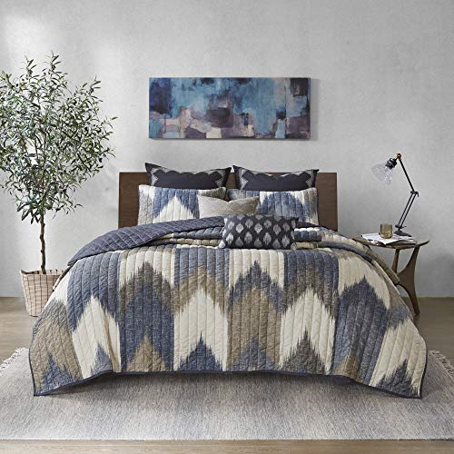 """INK+IVY Reversible Cotton Quilt-Luxury Double Sided Stitching Design All Season, Breathable Coverlet Bedspread Bedding, Matching Shams, King/Cal King(104""""x92""""), Alpine Chevron Navy 3 Piece"""