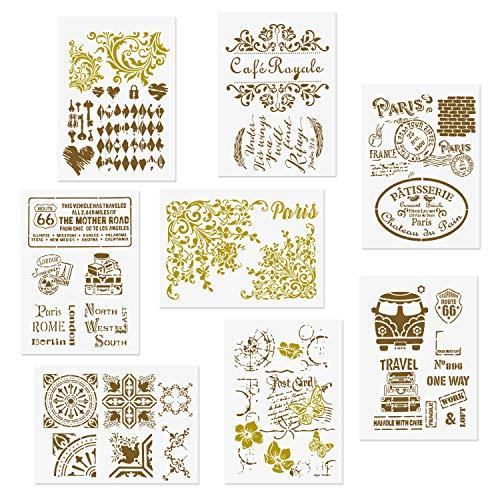 CODOHI Set di 8 stencil retrò - Quarter Mandala Vintage Paris Bus Travel Post Card Farfalla Modello riutilizzabile Home Decor per parete in legno Scrapbook Card Making Craft fai da te 21x29,7 cm