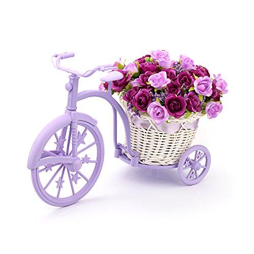 Louis Garden Nostalgic - Soporte de flores artificiales para bicicleta, color morado