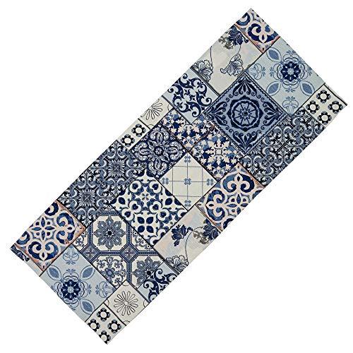 Hossner Gobelin Gobelindecke Mitteldecke Decke Blue Retro Vintage Mustermix 38% Polyacryl, 37% Polyester, 25% Baumwolle (40 x 100 cm Tischläufer rechteckig)