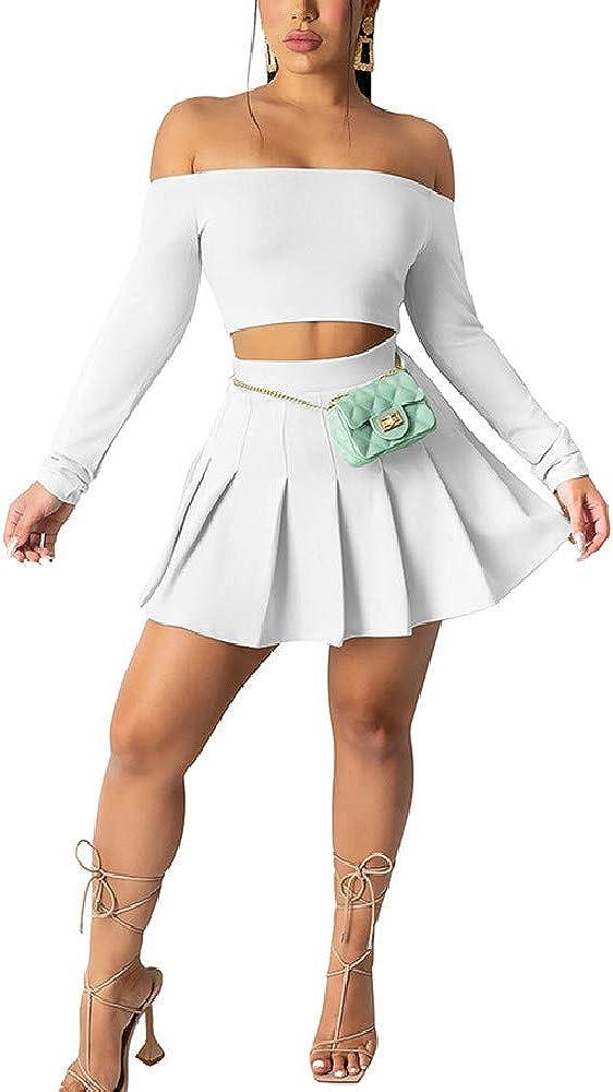 QANSI Women's 2 Piece Outfit Basic Long Sleeve Pleated Skirt Set
