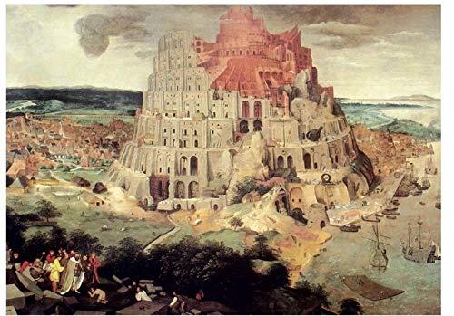 LVYONG Erwachsene Puzzle 1000 Stück Van Gogh Papier Landschaft Berühmte Malerei Sternenhimmel Kreative Dekompression Pädagogische Spielzeug Geschenk-1000-Babylon Tower