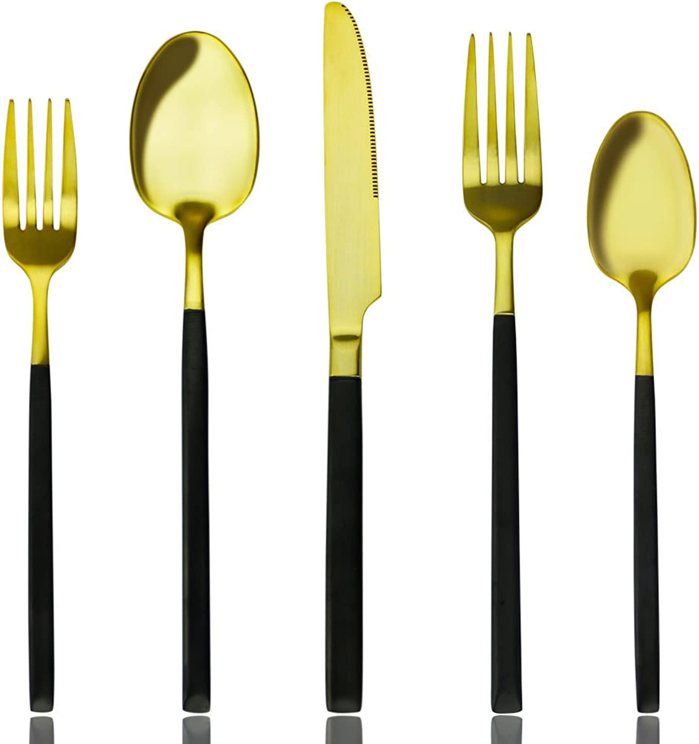 Black and gold Flatware Set, 20 pieces Matte Black and gold Plated 18 10 Stainless Steel Flatware Sets, Service for 4