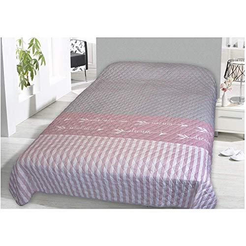 FineHome Schöne Tagesdecke Bettüberwurf gesteppt & wattiert Sofaüberwurf Dream Rosa 220x240cm