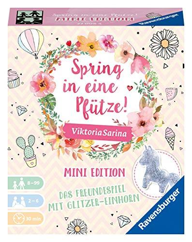 Ravensburger Familienspiel - Spring in eine Pfütze! - Mini Edition 27006 - Spiel für Kinder ab 8 Jahren mit Glitzer-Einhorn