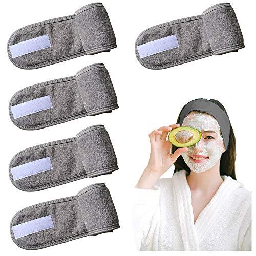 Gurxi Verstellbare Stirnband mit Klettverschluss Spa Stirnband mit Klettverschluss Kosmetik Mikrofaser Haarband für Kosmetische Behandlungen Haarschutz bei Schminken Sport Yoga 5 Stück (Grau)