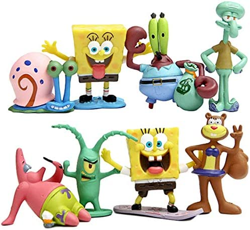 HONGFENG SpongeBob Cake Toppers 8Pcs SpongeBob Birthday Cake Toppers with Bright Colors for product image