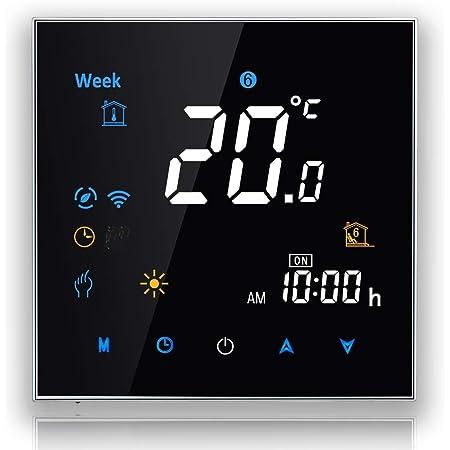 BecaSmart Series 3000 Termostato Inteligente Wi-Fi para para Calentamiento de Agua 3A, Pantalla táctil LCD, con conexión inalámbrica (Calentamiento de Agua, Negro)