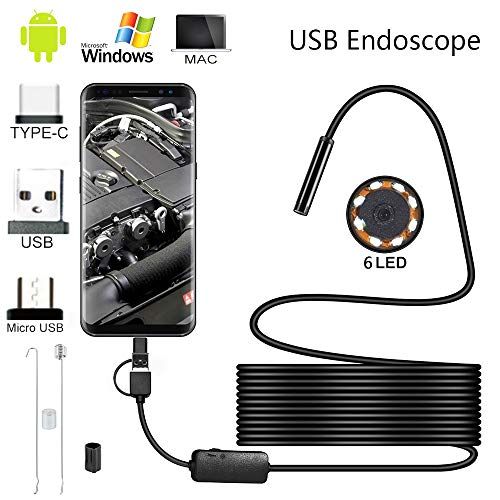Ghopy Endoscopio 5.5mm 3 en 1 USB Micro Tipo C Impermeable IP67 Industriales HD Boroscopio Cámara de Inspección 6 LED Adaptador para Android Teléfono Tableta Dispositivo (5m)
