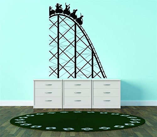 Design with Vinyl 2015 BS 293 - Adesivo da parete 'Roller Coaster Theme Park Fun', 40,6 x 50,8 cm, nero