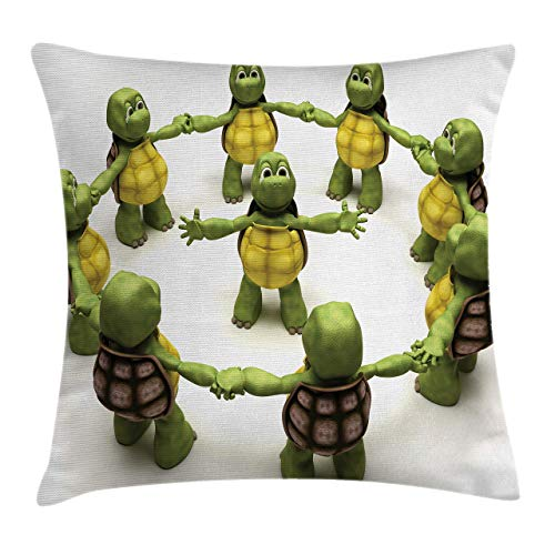 Funda de Cojine Funda de cojín de almohada de tiro de reptil, equipo de tortuga bailarina Relax Fun HappinChildhood tema para niños Throw Cojín 45 X 45CM