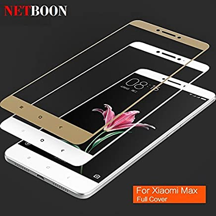 Xiaomi Mi Max Full Coverage Tempered Glass Shield, NETBOON 3D Curved Edge to Edge Screen Protector Full Screen 9H Hardness Glass HD Clear Sensitive Touch Glass Guard for Mi Max - Gold Color