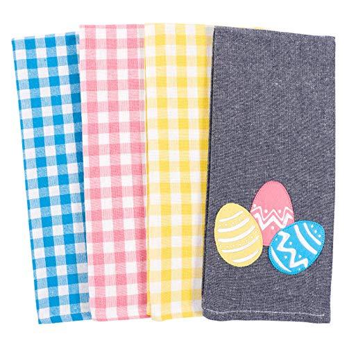 KAF Home Bloom Decorative Appliqué Easter Eggs Kitchen Dish Towel Set of 4, Cotton Rich, 18 x 28-inch