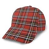 Gorra de béisbol para padre, de la marca NA de cuadros escoceses, unisex, ajustable, color rojo y negro