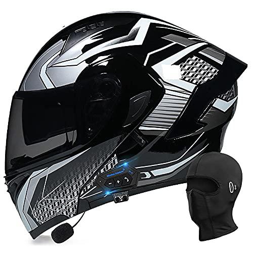 BDTOT Klapphelm mit Bluetooth Motorrad Integrierter Sturzhelm Doppelspiegel, Klapphelm Geschlossenen DOT/ECE-geprüft, Integralhelm für Automatische Reaktion Kostenlose Kapuze