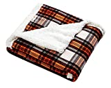 Eddie Bauer - Plush Sherpa Fleece Throw - Soft & Cozy Reversible Blanket, Ideal for Travel, Camping, & Home, Edgewood Red
