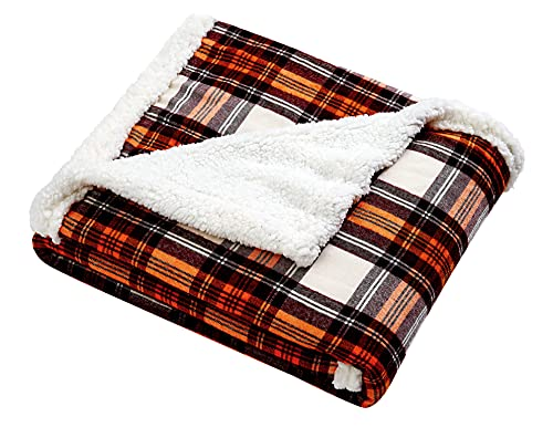 Eddie Bauer - Plush Sherpa Fleece Throw - Super Soft & Cozy, Reversible Blanket, Perfect for Couch, Sofa & Bed, Lightweight & Warm, Edgewood Red