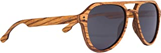 WOODIES Polarized Full Zebra Wood Top Gun Aviator Sunglasses for Men and Women | Black Polarized Lenses and Real Wooden Fr...